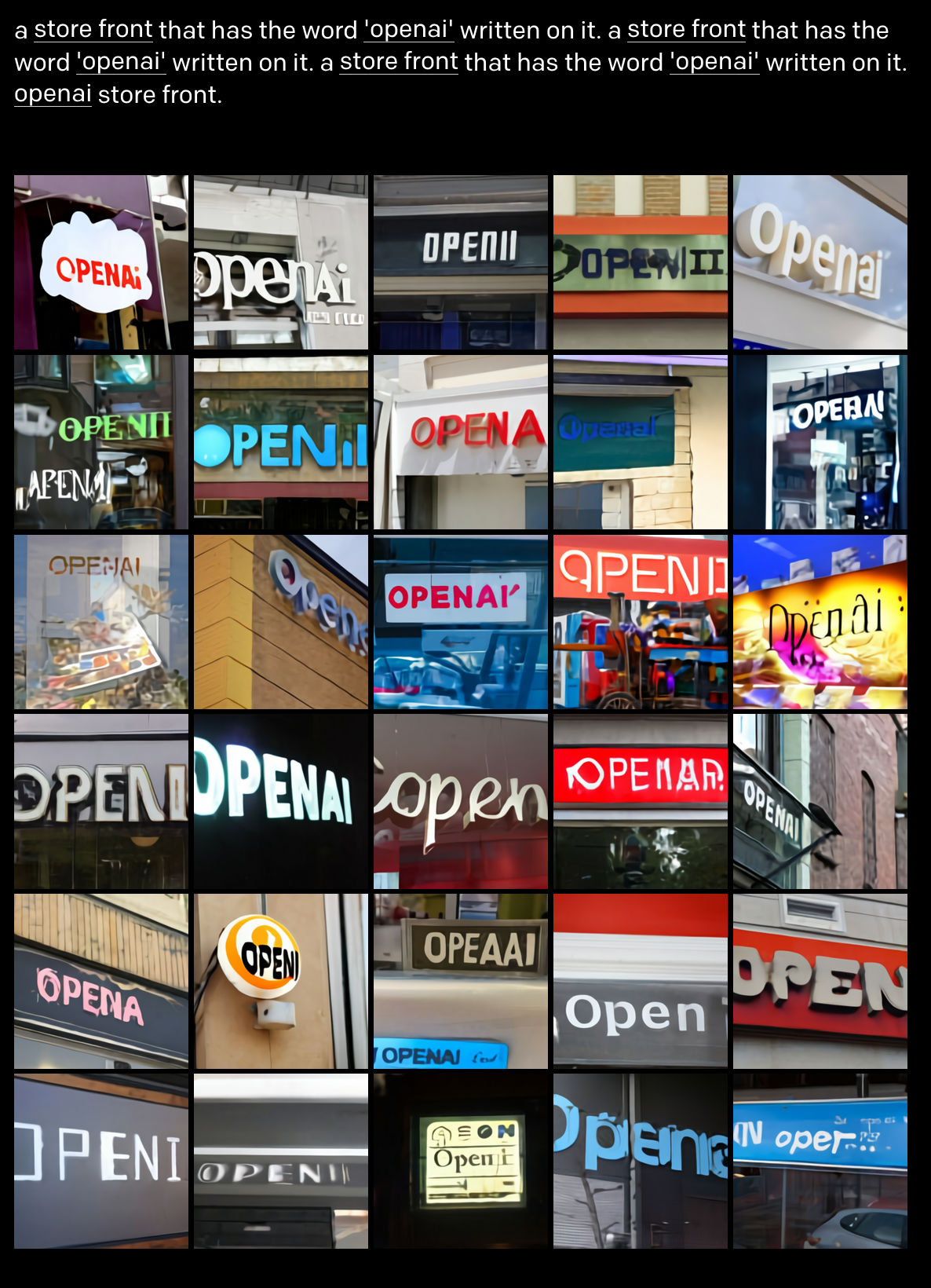 a store front with openai written on it